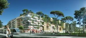 Perspective du projet pour le quartier le Ray par les architectes Edouard François et Jean-Philippe Cabane