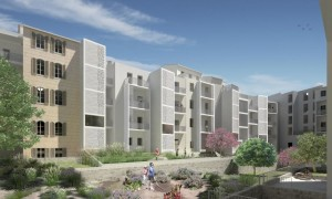 Perspective du projet urbain Faubourg des Fiacres© Agence Kern