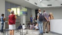 Visite de la Fondation Vasarely à Aix-en-Provence, en présence d'Etienne REY, par 26 élèves de l'Ecole primaire National.
